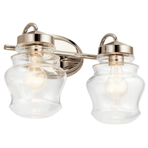 Janiel 7 in. 2-Light Polished Nickel Vanity Light with Clear Glass Shade