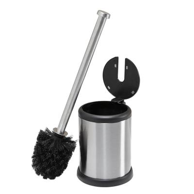Self Closing Lid Stainless Steel Toilet Brush and Holder
