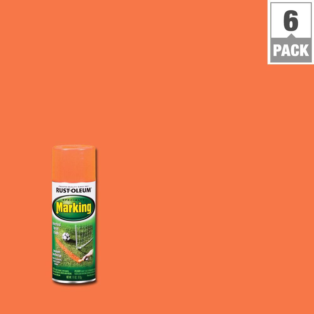 11 oz. Fluorescent Orange Marking Spray Paint (6-Pack)