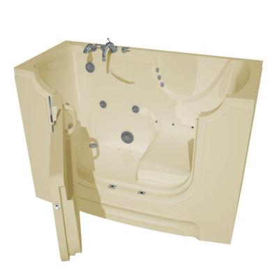 HD Series 60 in. Left Drain Wheelchair Access Walk-In Whirlpool and Air Bath Tub with Powered Fast Drain in Biscuit