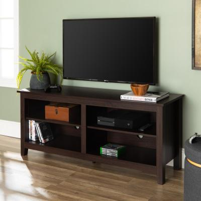 Columbus 58 in. Espresso MDF TV Console 60 in. with Adjustable Shelves
