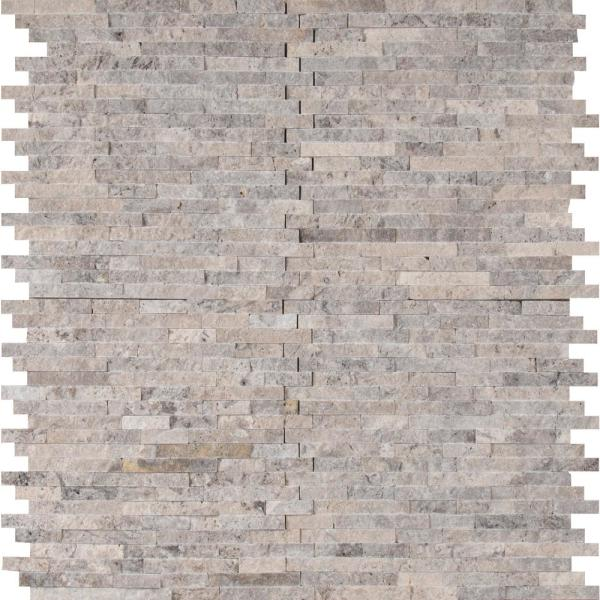 Silver Split Face 11.81 in. x 12.4 in. x 10 mm Matte Travertine Mesh-Mounted Mosaic Wall Tile (10.2 sq. ft. / case)