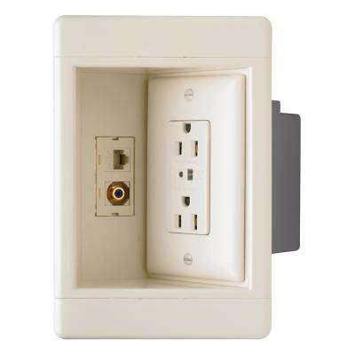 Plastic Light Almond 1-Gang Recessed TV Box with Surge Protective Outlet and Low-Voltage Kit