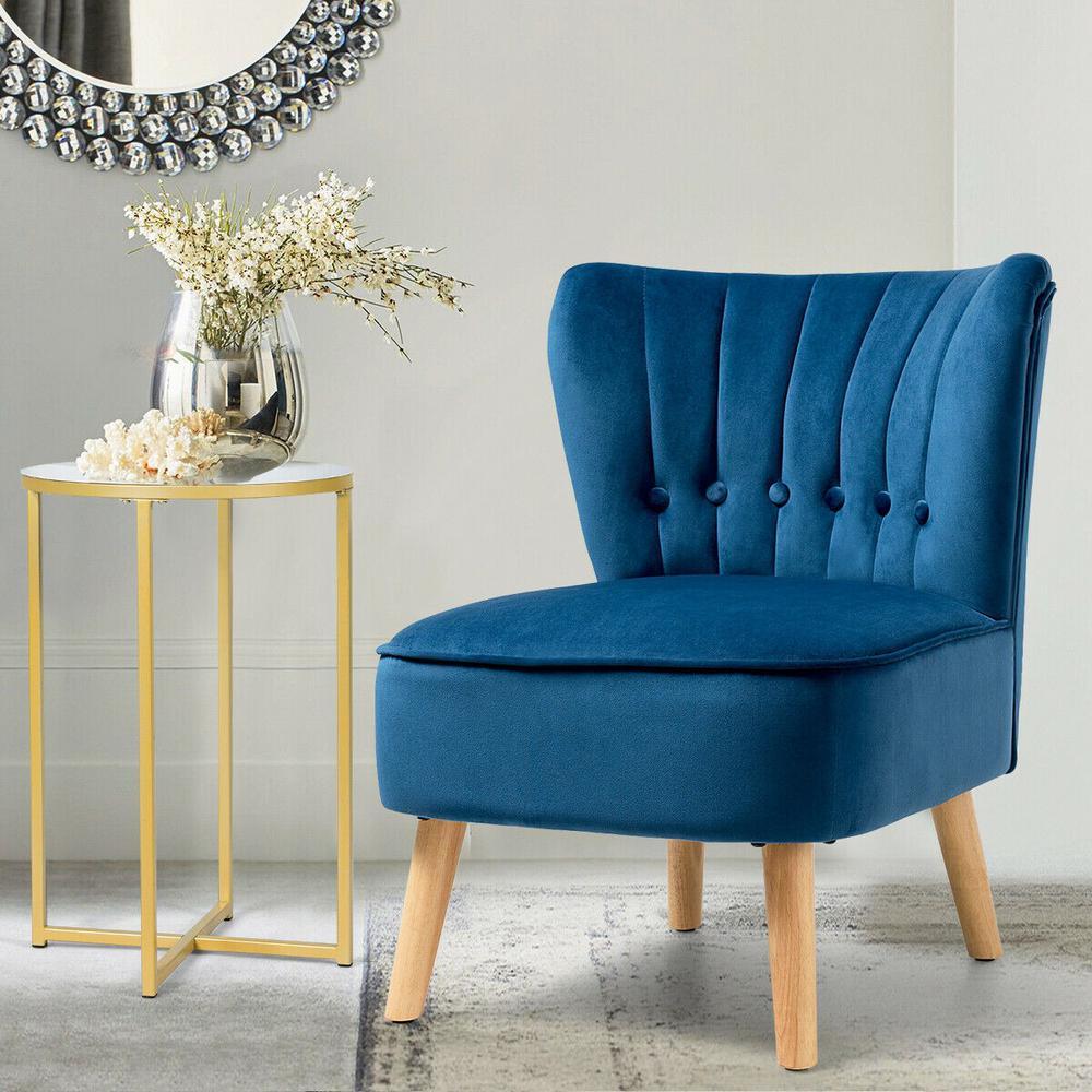 Fashion Armless Accent Chair Modern Tufted Velvet Leisure Chair in Blue