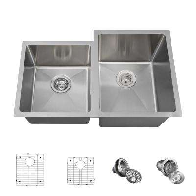 All-in-One Undermount Stainless Steel 31-1/4 in. Right Double Bowl Kitchen Sink