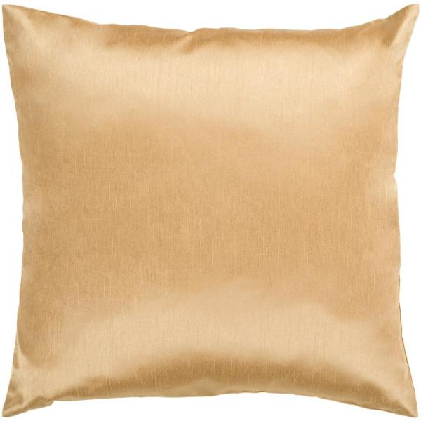 Visoko Tan Solid Polyester 18 in. x 18 in. Throw Pillow