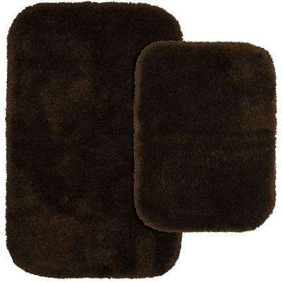 Finest Luxury Chocolate 21 in. x 34 in. Washable Bathroom 2-Piece Rug Set