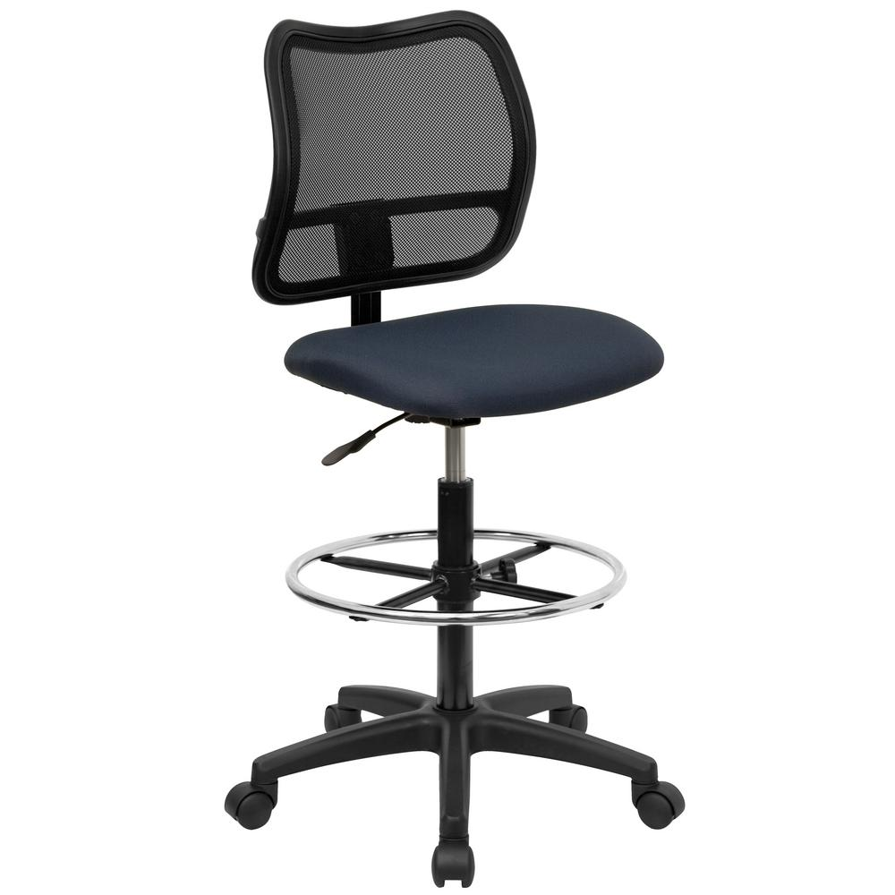 flash furniture mid back mesh drafting chair with navy blue fabric