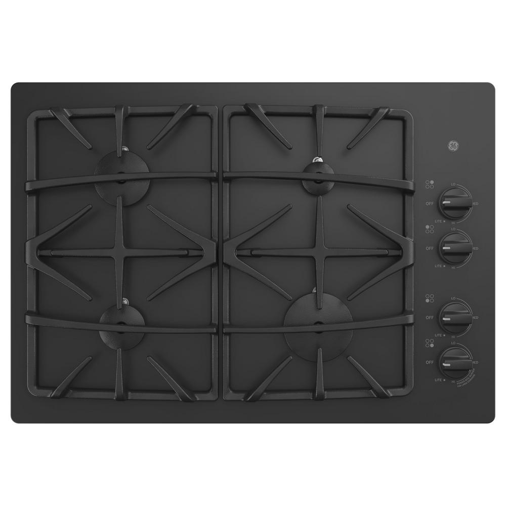 GE 30 in. Gas Cooktop in Black with 4-Burners including P...