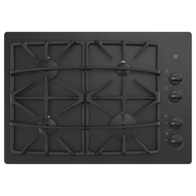 30 in. Gas Cooktop in Black with 4-Burners including Power Boil Burner