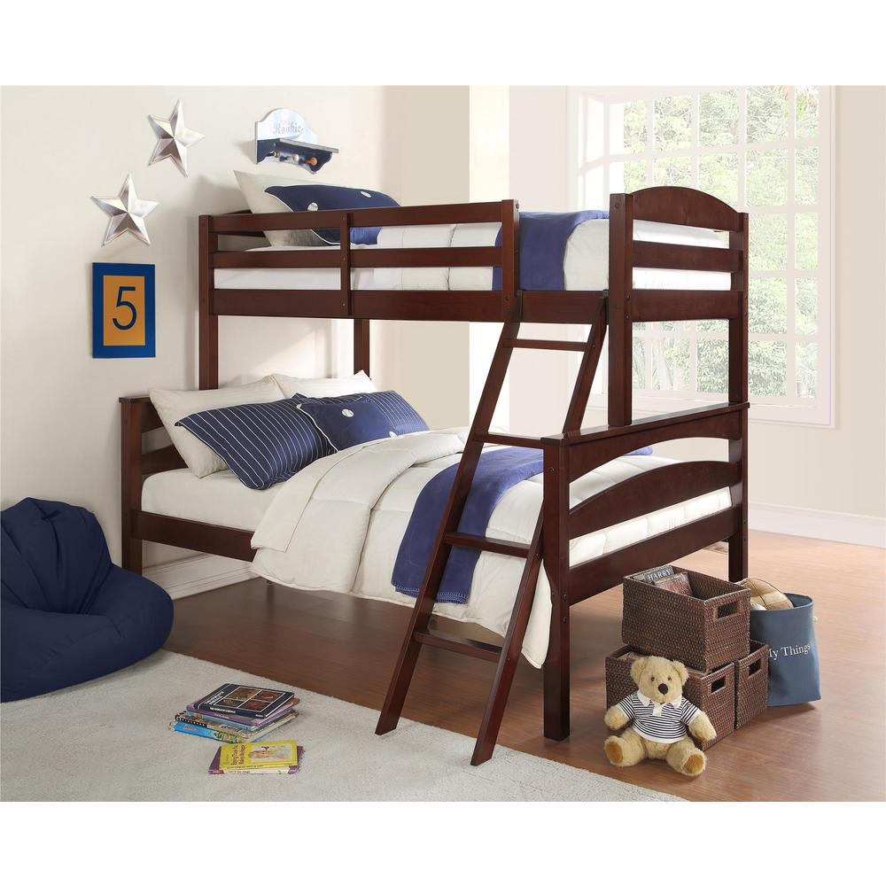 Dorel Living Brady Twin Over Full Espresso Wood Bunk Bed Fa6940e