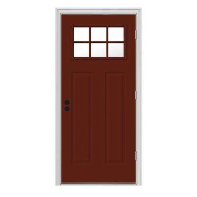 30 in. x 80 in. 6 Lite Craftsman Mesa Red w/ White Interior Steel Prehung Left-Hand Outswing Front Door w/Brickmould