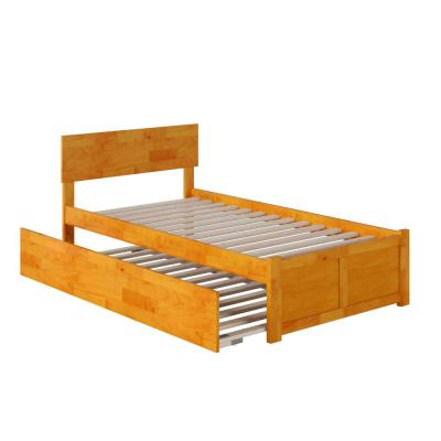 Orlando Twin Extra Long Bed with Footboard and Twin Extra Long Trundle in Caramel