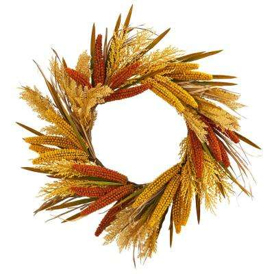 25in. Unlit Artifical Holiday Wreath with Sorghum Harvest