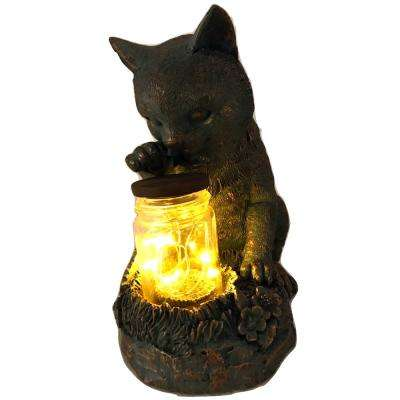 Cat Sitting with Fairy Light in Jar