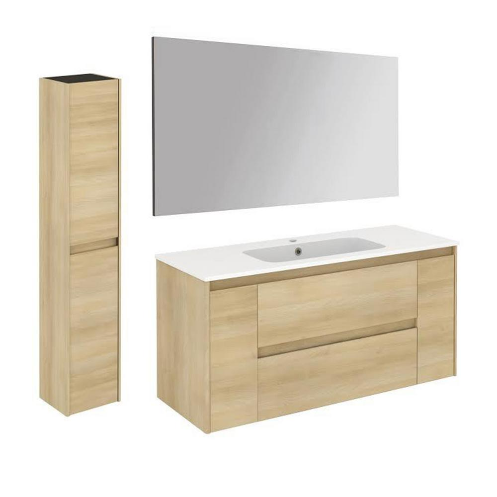 WS Bath Collections 47.5 in. W x 18.1 in. D x 22.3 in. H Bathroom Vanity Unit in Nordic Oak with Mirror and Column
