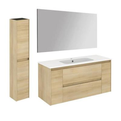 Ambra 47.5 in. W x 18.1 in. D x 22.3 in. H Bathroom Vanity Unit in Nordic Oak with Mirror and Column