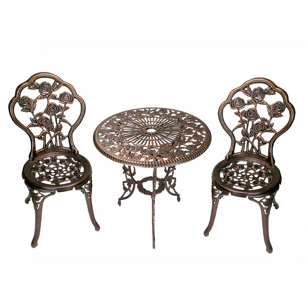 Gentil Rose 3 Piece Cast Metal Bistro Set With Cast Aluminum Top Table And 2 Chairs