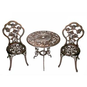 Rose 3-Piece Cast Metal Bistro Set with Cast Aluminum Top Table and 2 Chairs by