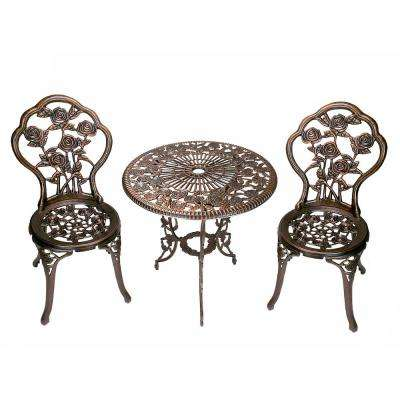 Rose 3 Piece Cast Metal Bistro Set With Cast Aluminum Top Table And 2 Chairs