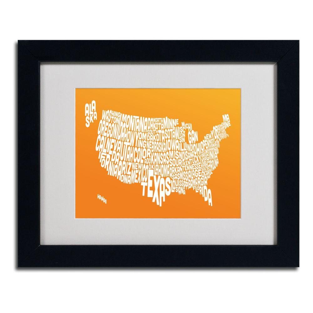 11 in. x 14 in. USA States Text Map - Orange