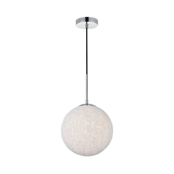 Timeless Home Malaki 1-Light Pendant in Chrome and White with 9.8 in. W x 9.8 in. H Shade
