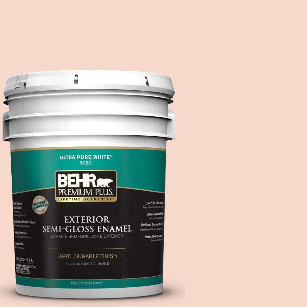 BEHR Premium Plus 5-gal. #M200-1 Peach Sachet Semi-Gloss Enamel Exterior Paint