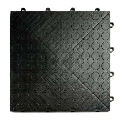 12 in. x 12 in. Coin Black Modular Tile Garage Flooring (24-Pack)