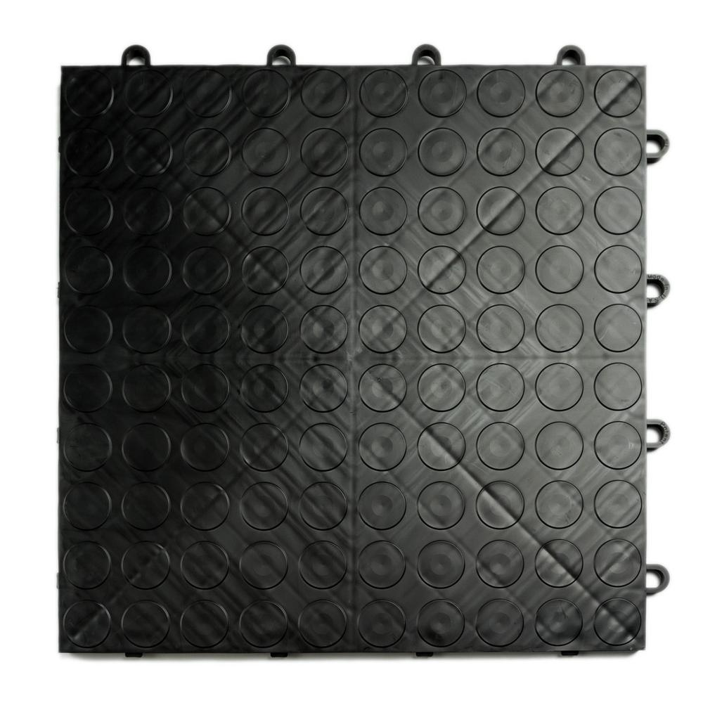 12 in. x 12 in. Coin Black Modular Tile Garage Flooring