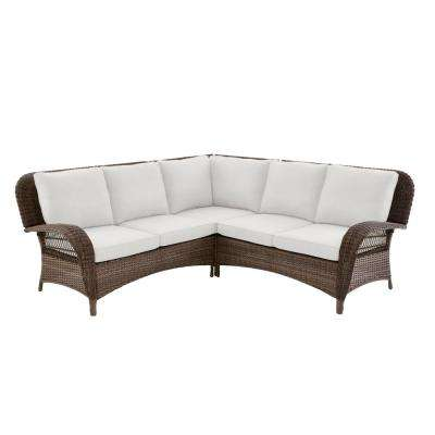 Beacon Park 3-Piece Brown Wicker Outdoor Patio Sectional Sofa with Bare Cushions