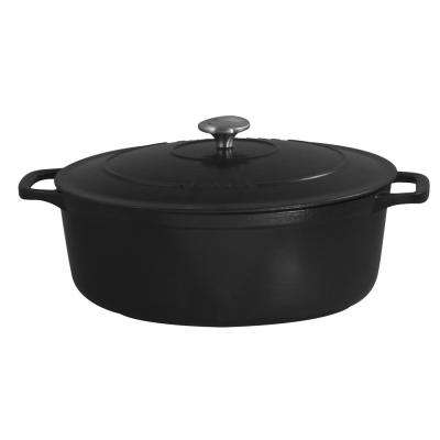4-1/2 Qt. Oval Cast Iron Dutch Oven in Black