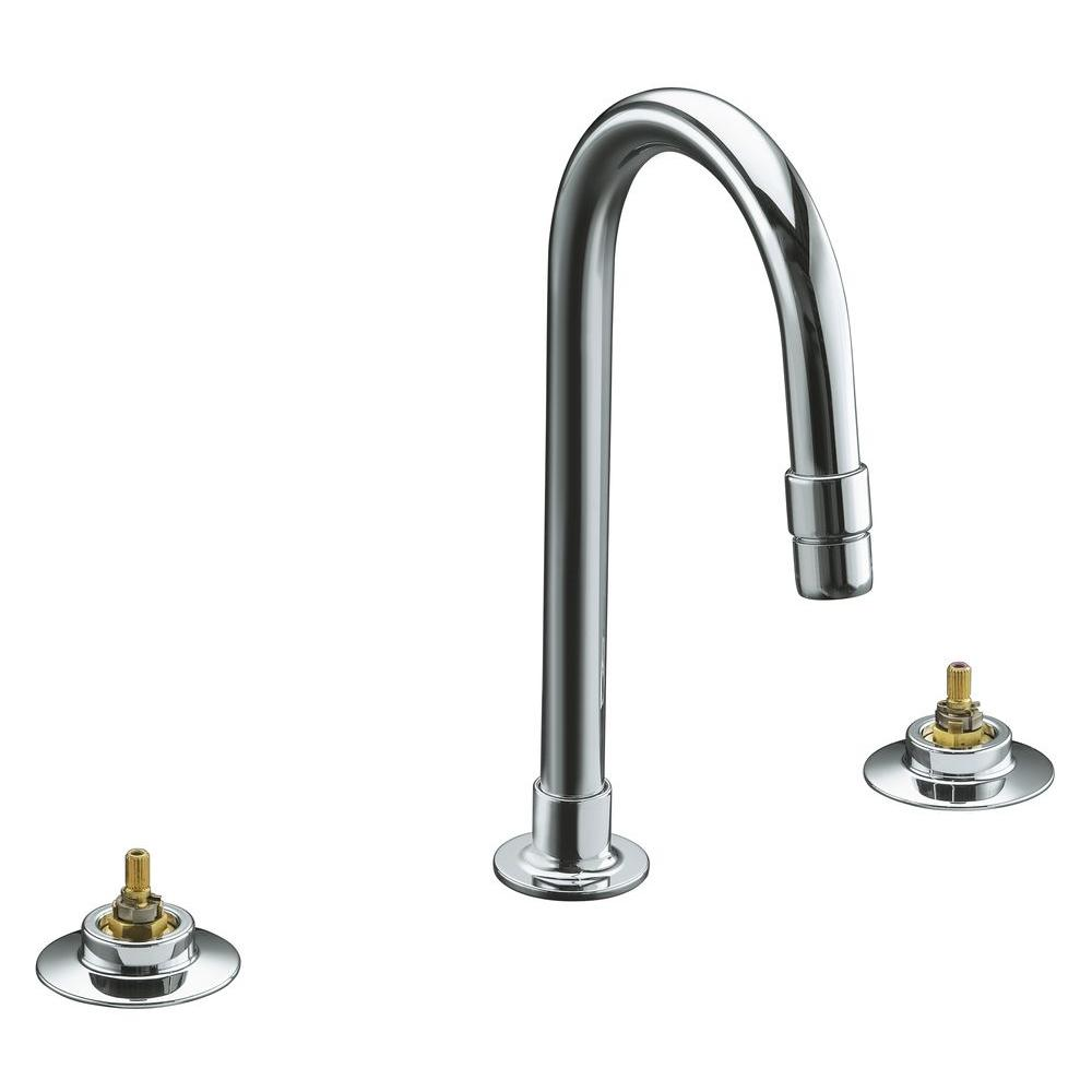 Kohler triton 12 in widespread 2 handle mid arc for Bathroom faucets for less