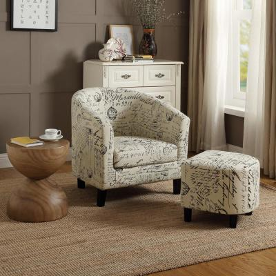 Retro Beige Letter Fabric Upholstered Accent Chair and Ottoman Set