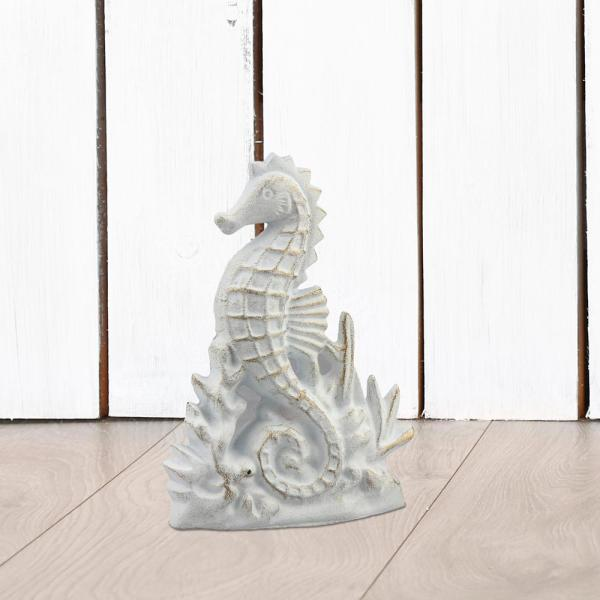 6 in. x 8 in. White and Gold Cast Iron Seahorse Door Stopper