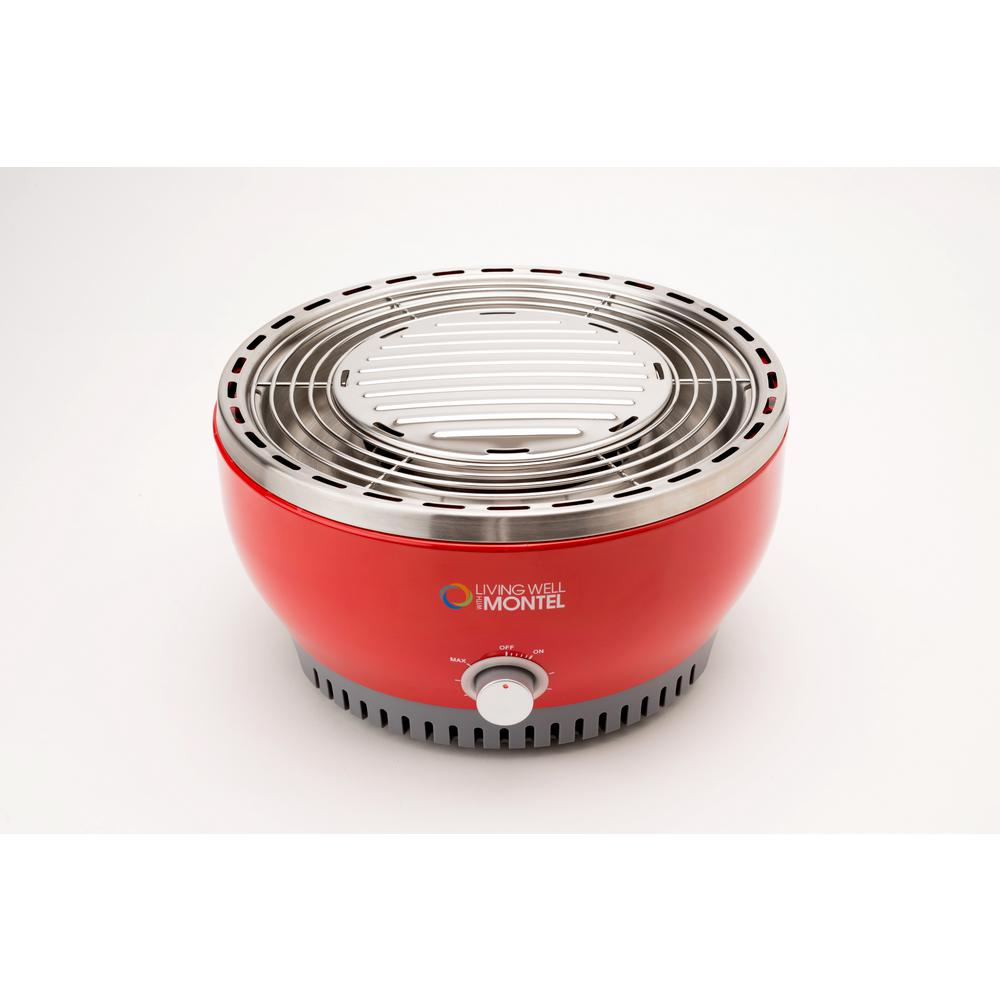 Living Well with Montel Portable Electric Outdoor Grill in Red