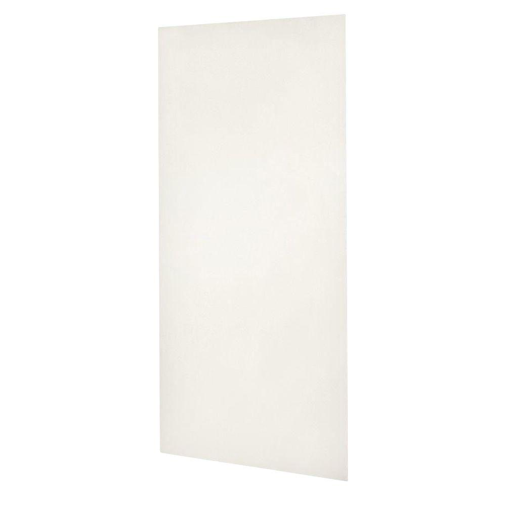Swan Solid Surface 48 in. x 96 in. 1-Piece Easy Up Adhesive Shower Wall in Bisque