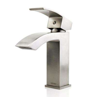 Lavatory Vanity Standard Single Hole Single-Handle Waterfall Bathroom Faucet in Brushed Nickel