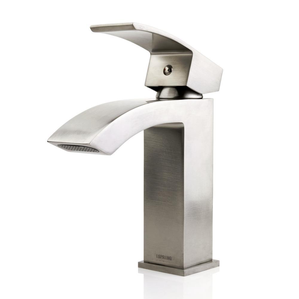 Lavatory Vanity Standard Single Hole Single-Handle Waterfall Bathroom Faucet in Brushed Nickel