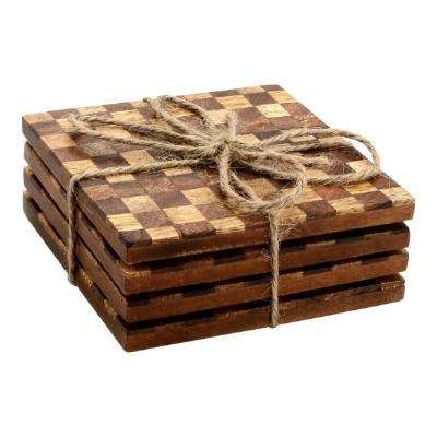 4-Piece Checkered Wood Coaster Set
