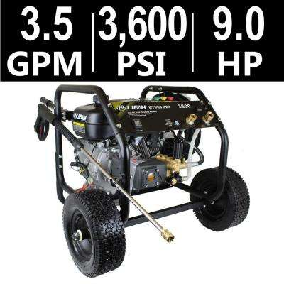 Hydro Pro Series 3,600 psi 3.5 GPM AR Tri-Plex Pump Recoil Start Gas Pressure Washer with Panel Mounted Controls CARB