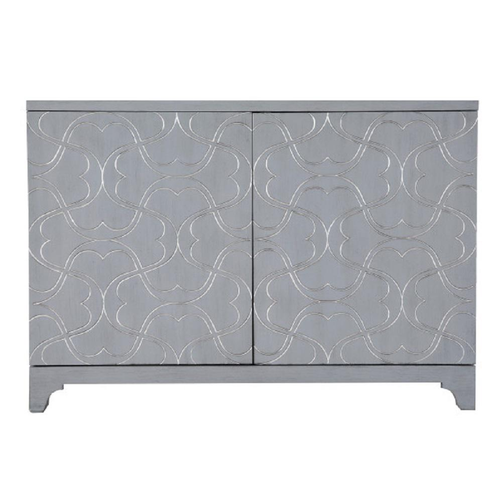 Modern Influenced Blue 2 Door Accent Bar Cabinet With Ornate Overlay Carving