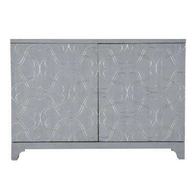 Modern Influenced Blue 2-Door Accent Bar Cabinet with Ornate Overlay Carving