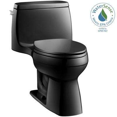 Santa Rosa Comfort Height 1-piece 1.28 GPF Single Flush Compact Elongated Toilet with AquaPiston Flush in Black Black