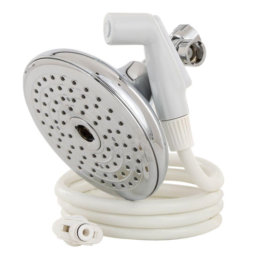 RINSE ACE Rainfall 75-Spray Dual Showerhead and Handheld Showerhead with 2 Setting Sprayer in Chrome with White