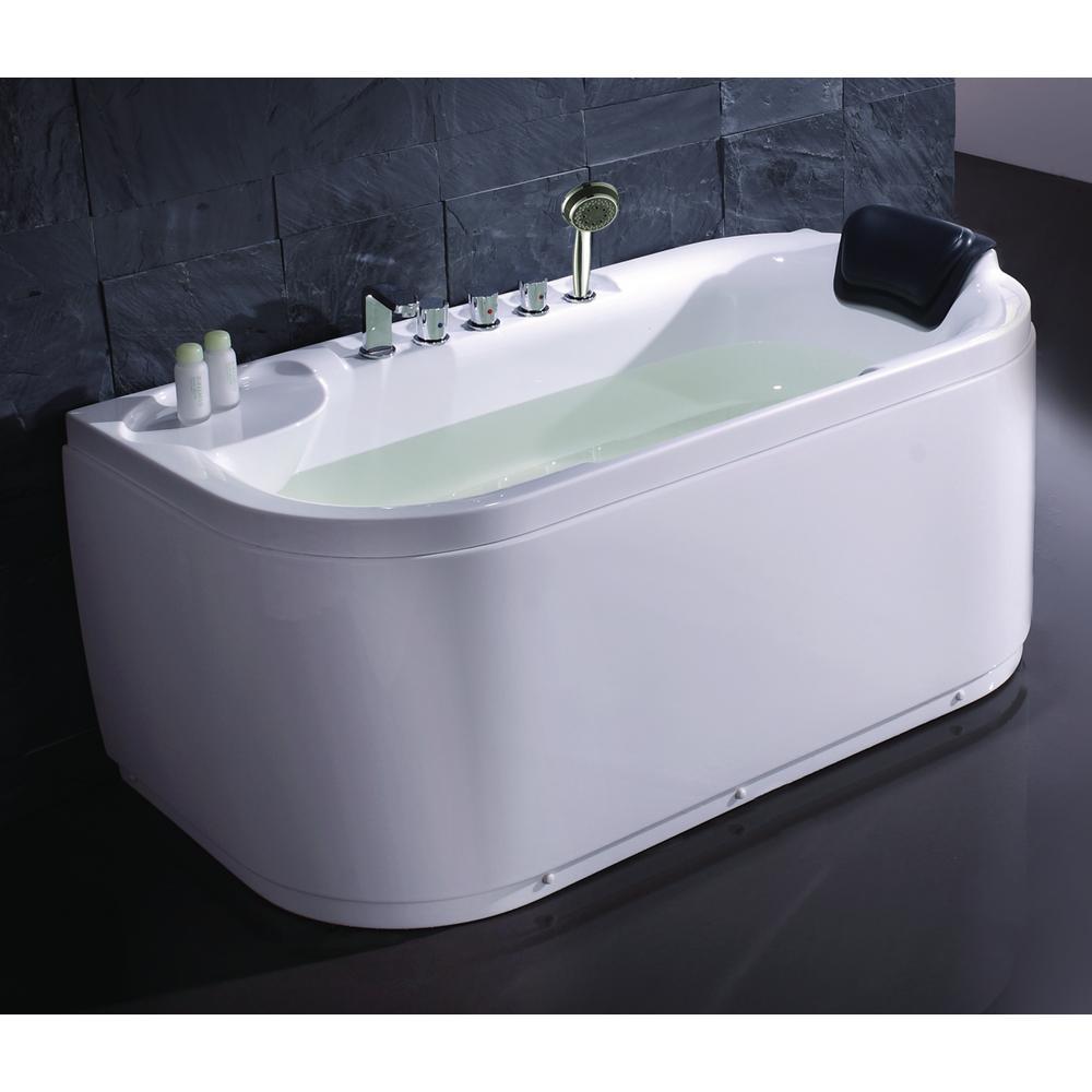 LK1103-L 59 in. Acrylic Flatbottom Bathtub in White