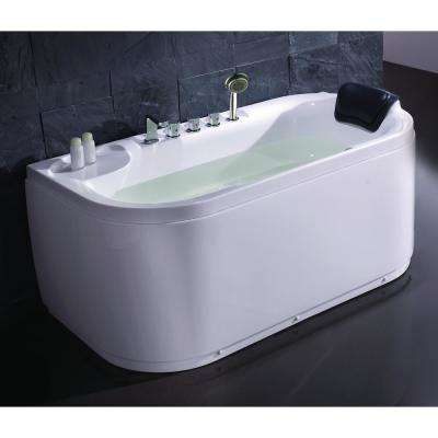 LK1103-L 59 in. Acrylic Flatbottom Bathtub in White