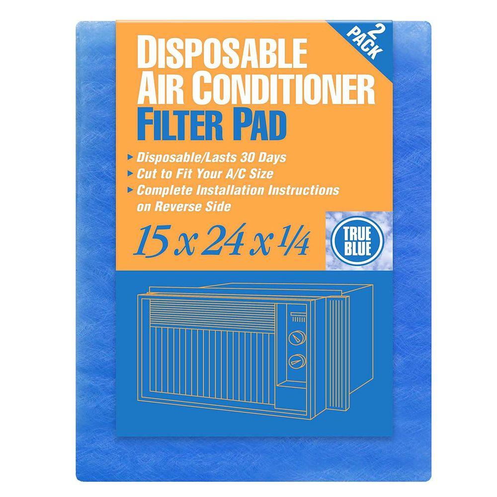 True Blue 15 in. x 24 in. x 1/4 in. Disposable AC FPR 1 Filter Pad (12-Pack)