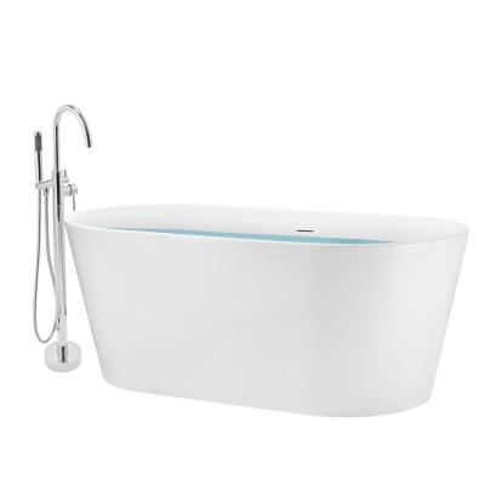 67 in. Fiberglass Double Ended Flatbottom Non-Whirlpool Bathtub In Glossy White
