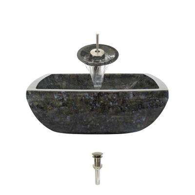 Stone Vessel Sink in Butterfly Blue Granite with Waterfall Faucet and Pop-Up Drain in Brushed Nickel