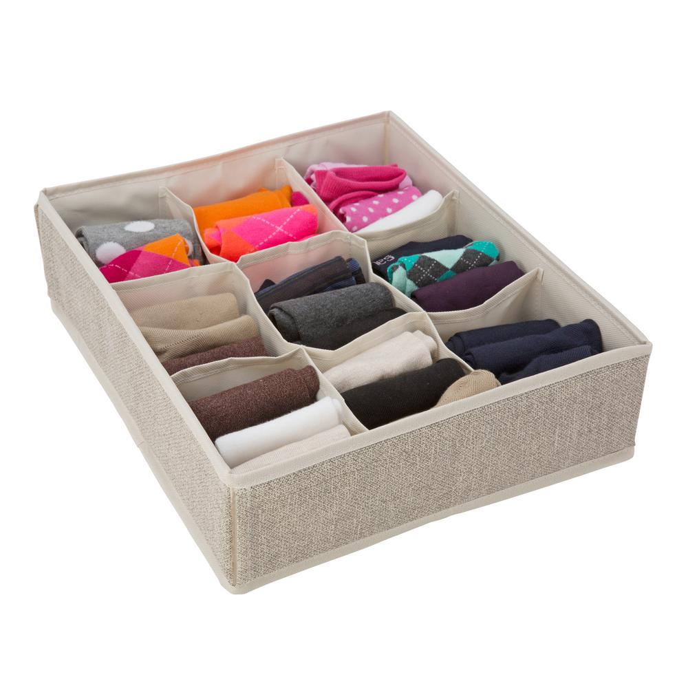 Simplify 14 in. x 12 in. x 4 in. 9 Compartment Faux Jute Drawer Organizer